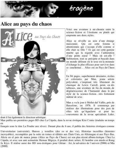 Article Erogène - BD Alice au Pays du Chaos