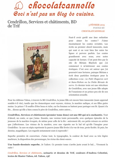 Article Chocolat Cannelle - Cendrillon Vol.1