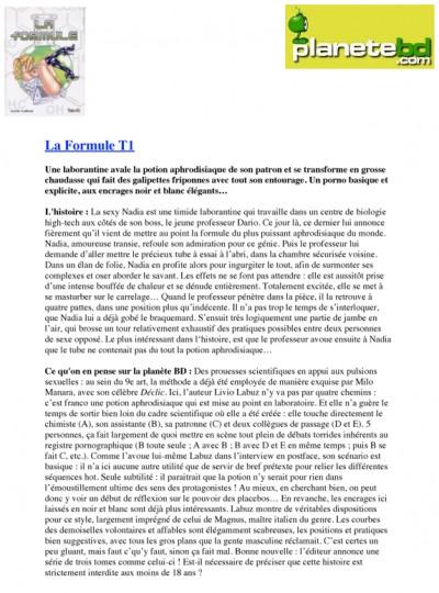 Article Planète BD - BD La Formule