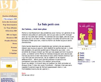 Article BD Sélection - BD Le sale petit con