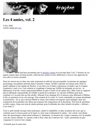Article Erogène - BD Les 4 Amies Vol2