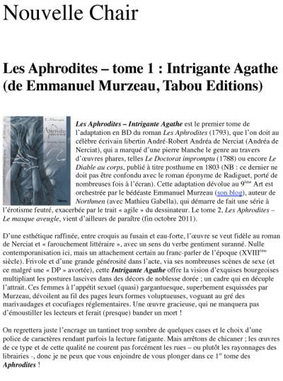 Article nouvelle Chair - BD Les Aphrodites Vol1