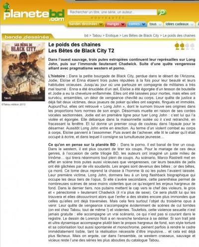Article Planète BD - BD Les Bêtes de Black City Vol2