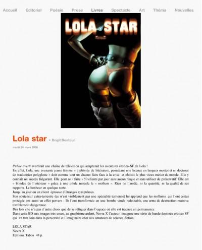 Article Ecrit-Vaint - BD Lola Star