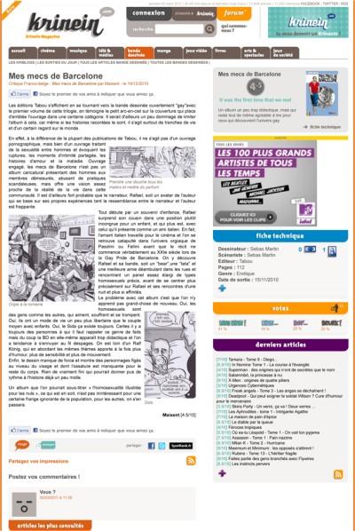 Article Krinein - BD Mes mecs de barcelone