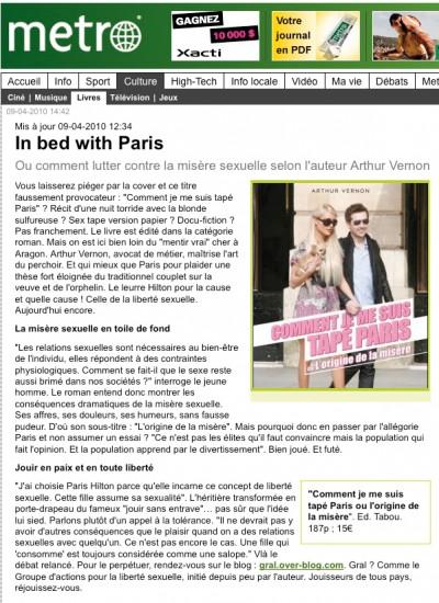 Article Metro - Roman Comment je me suis tapé Paris