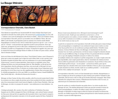 Article La bauge Littéraire - Roman Correspondance Charnelle