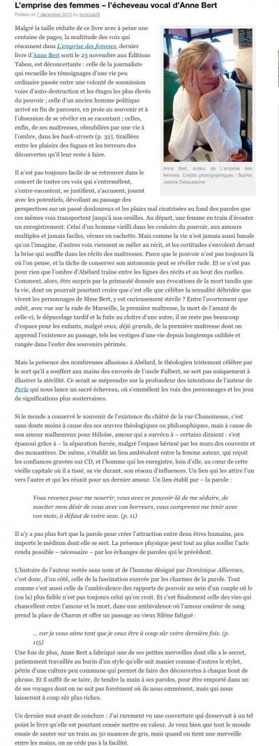 Article La Bauge Littéraire - Roman L'emprise des femmes