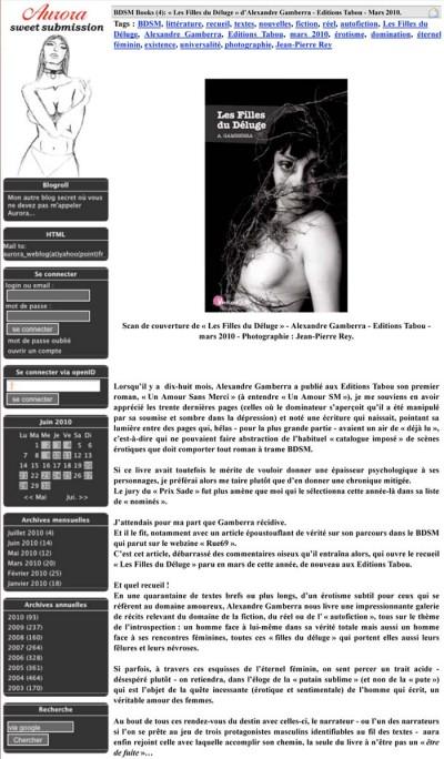 Article Aurora - Roman Les filles du déluge