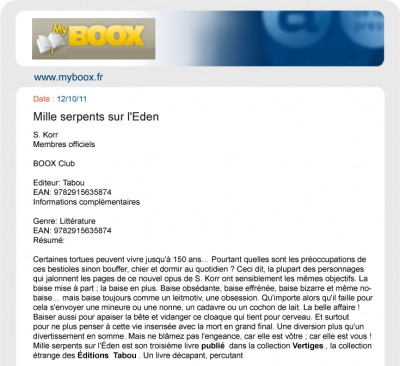Article MyBoox - Roman Mille serpents sur l'Eden
