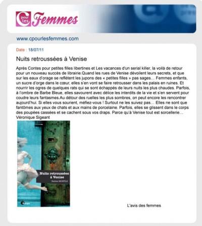 Article C pour les femmes - Roman Nuits retroussées à Venise