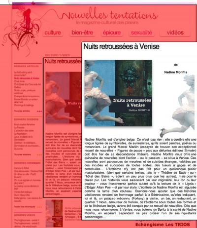 Article Nouvelles Tentations - Roman Nuits retroussées à Venise