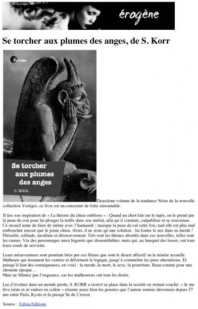 Article Erogène - Roman Se torcher aux plumes des anges
