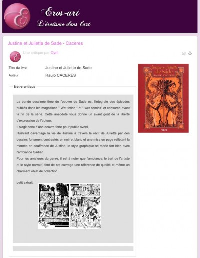 Article Eros-art - Justine et Juliette de Sade